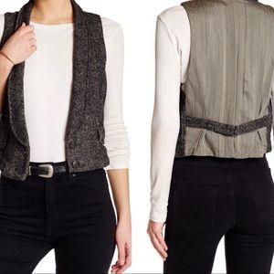 Free People Wool Blend Button Tweed Vest